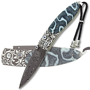 Buy William Henry  WHB05CORALSEA Monarch - Typhoon' Damascus / Fossilized Brain Coral / Carved Silver at Country Knives.