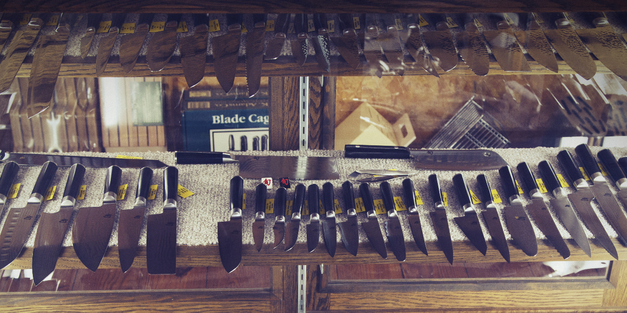 Professional kitchen knives on display at Country Knives