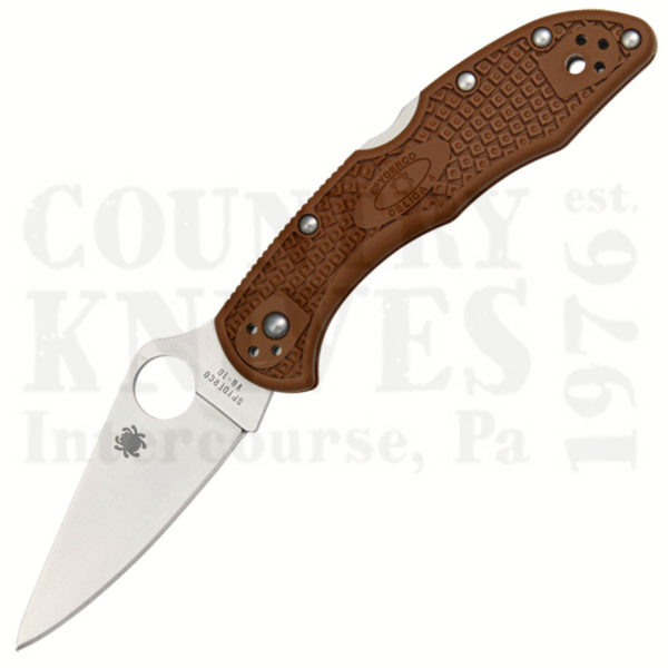 Buy Spyderco  C11FPBN Delica4, BROWN FRN / PlainEdge at Country Knives.