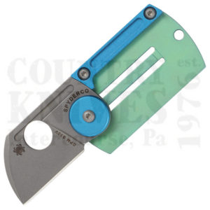Buy Spyderco  C188ALTIP Dog Tag Folder, Green & Blue Anodized Titanium at Country Knives.