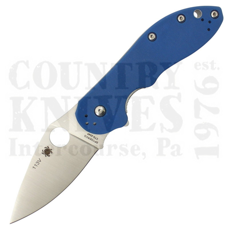 Buy Spyderco  C172GBLTIP Domino - Blue G-10 / CTS 204P at Country Knives.