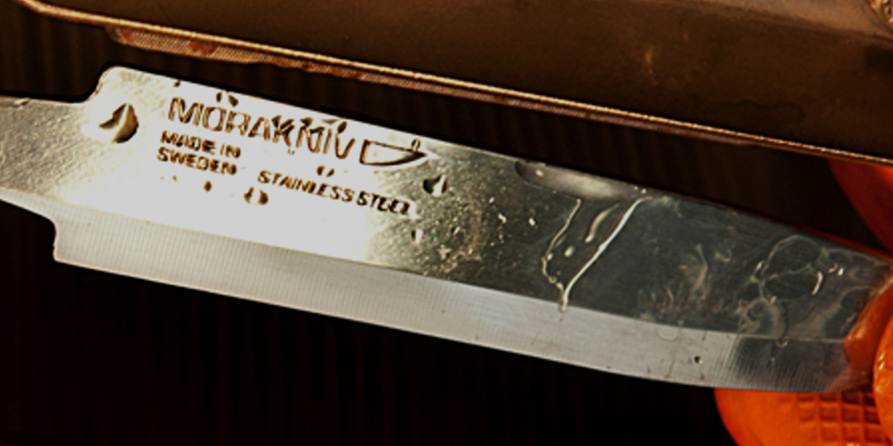Up close of Morakniv knife blade