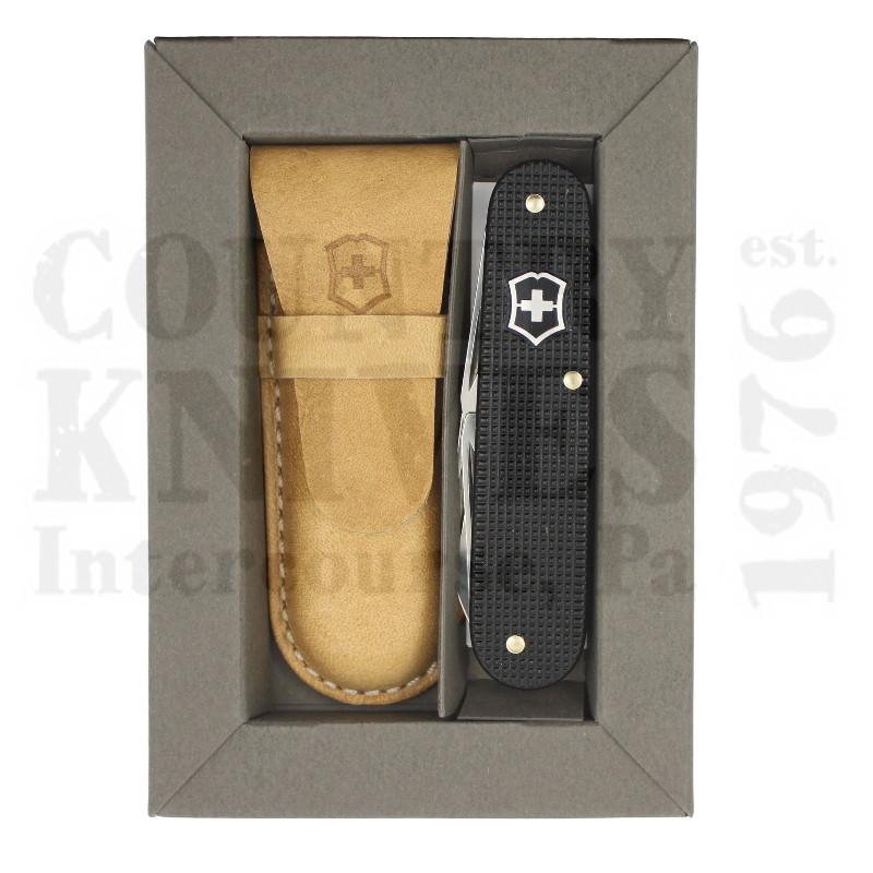 Buy Victorinox Swiss Army 0.2600.L1223 Cadet - Ribbed Black Alox with Pocket Pouch at Country Knives.