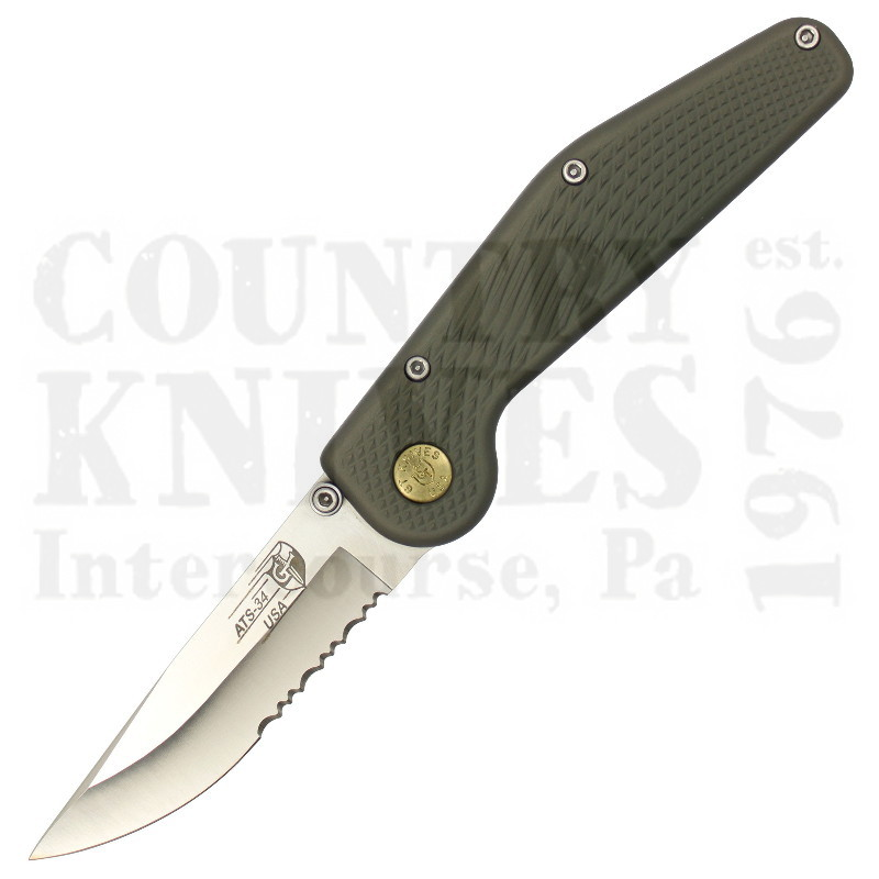 Buy GT Knives  GT-GN-SC Button-Lock Folder - Green / Partially Serrated at Country Knives.