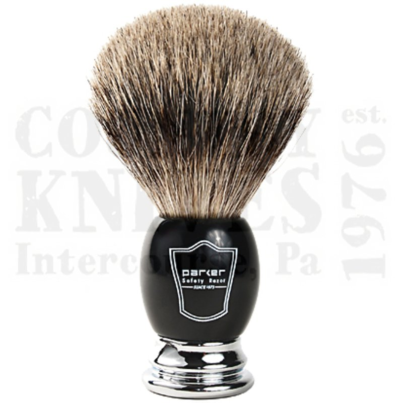 Buy Parker  PRBCPB Shaving Brush - Black & Chrome / Pure Badger at Country Knives.