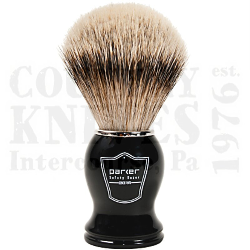 Buy Parker  PRBHST Shaving Brush - Black / Silver Tip at Country Knives.