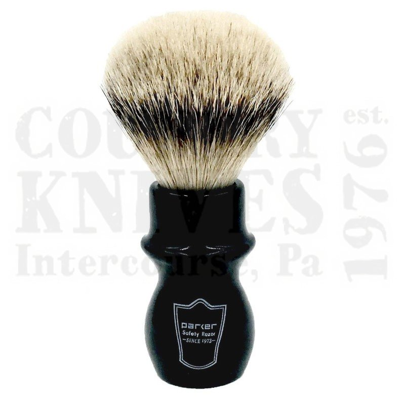 Buy Parker  PRBMST Mug Shaving Brush - Black / Silver Tip at Country Knives.