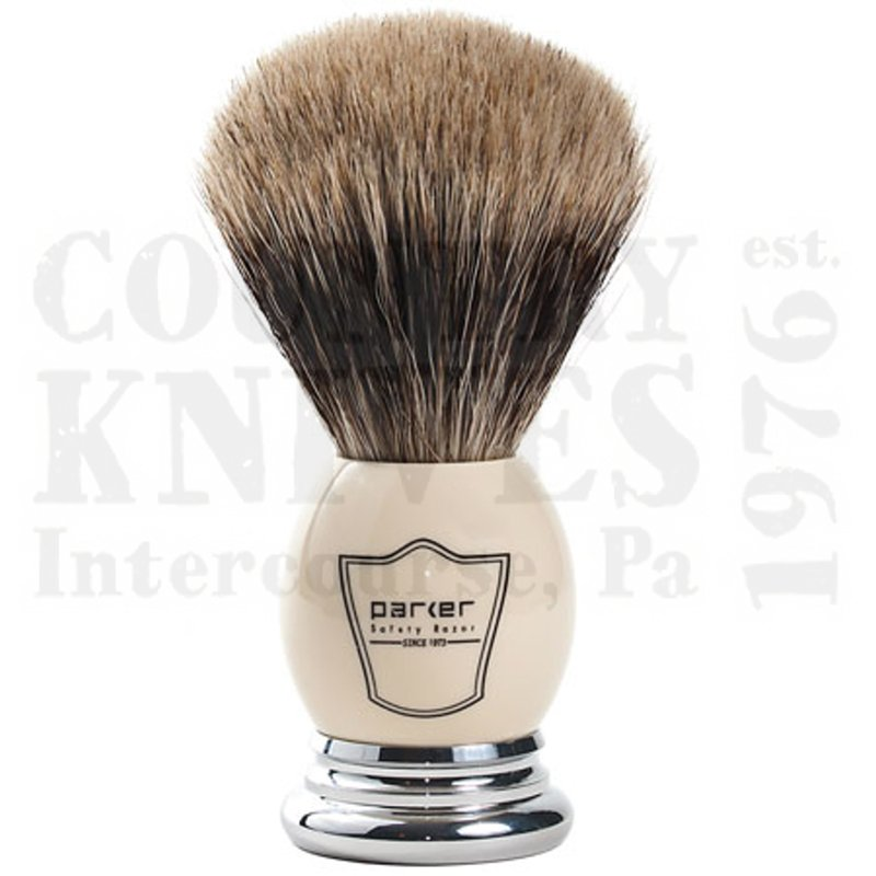 Buy Parker  PRWHPB Shaving Brush - White & Chrome / Pure Badger at Country Knives.