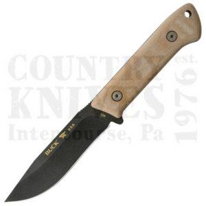 Buck104BRS1Compadre Camp Knife – 5160 / Cobalt Gray Cerakote / Natural Canvas Micarta