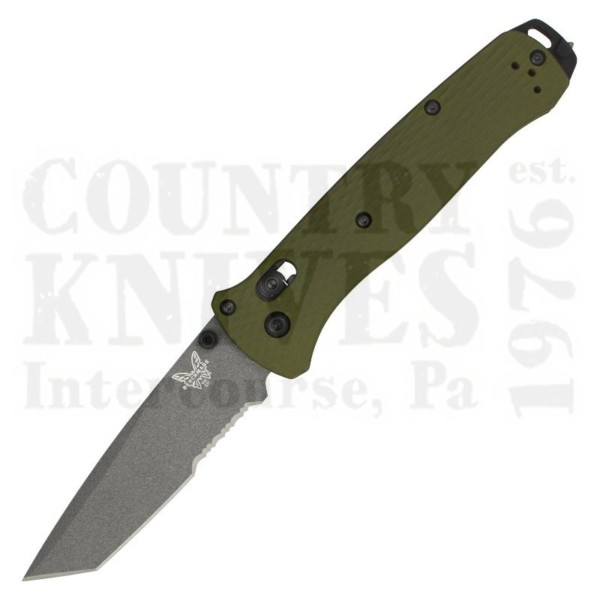 Buy Benchmade  BM537SGY-1 Bailout - Woodland Green Aluminum / ComboEdge at Country Knives.